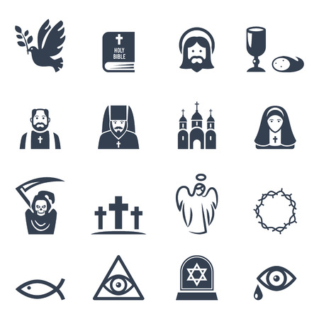 worship: Vector Christian religion icons set Illustration