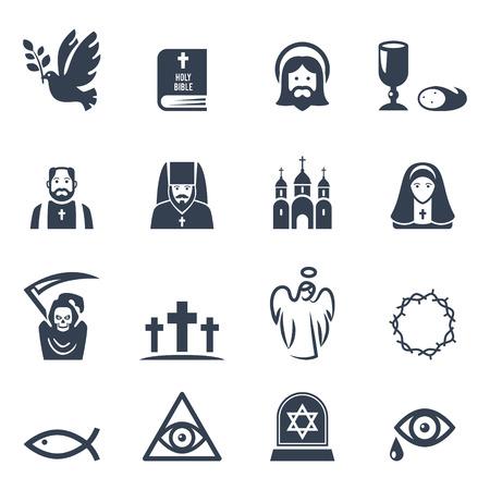 sacerdote: Vector religión cristiana iconos conjunto