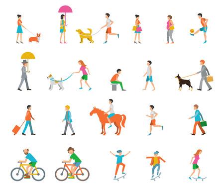 andando en bicicleta: La gente en la calle. Vecinos. Iconos planos.