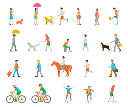 man hiking: People on the street. Neighbors. Flat icons. Illustration