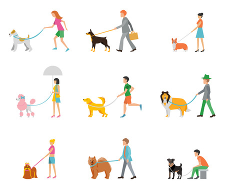 People walk their dogs on a leash.