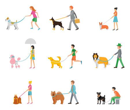 La gente camina sus perros con correa.