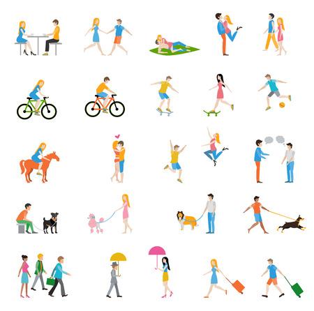 diferentes profesiones: Grupo de personas en la calle. Ilustración plana, eps 10, sin transparencias.
