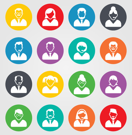 icon buttons: User sign icon. Person symbol. Human avatar. Round colourful 16 buttons. Vector illustration