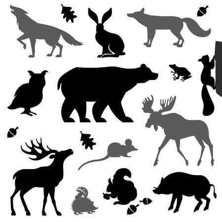 Animals living in european forest. Vector icon set of silhouette. Stock Illustratie