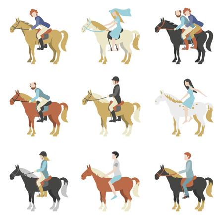 femme a cheval: Des leçons d'équitation. Vector illustration dans un style plat.