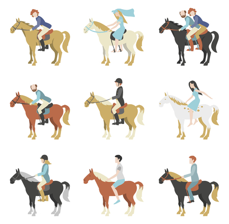 Horse riding lessons. Vector illustration in a flat style. Ilustração