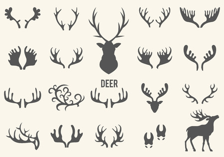 Black silhouettes of different deer horns, vector