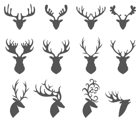head icon: Vector illustration of collection of deers silhouette