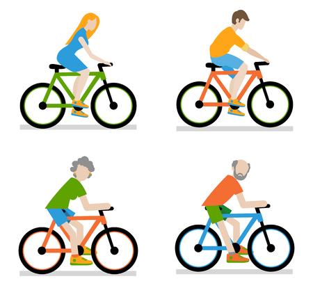 ciclista: Ciclistas que montan en bicicleta conjunto, ilustración vectorial de un estilo plano.