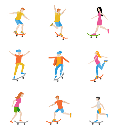 Skateboard characters set. People ride on a skateboard. Vector illustration in a flat style. Illustration