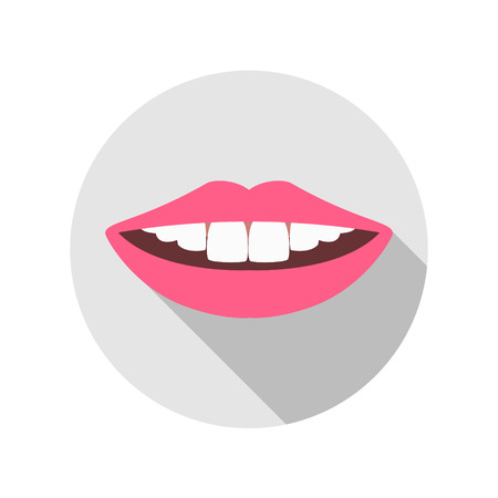sexual health: Vector Woman Mouth with white Teeth and red Lips. Closeup Fashion Beauty Illustration
