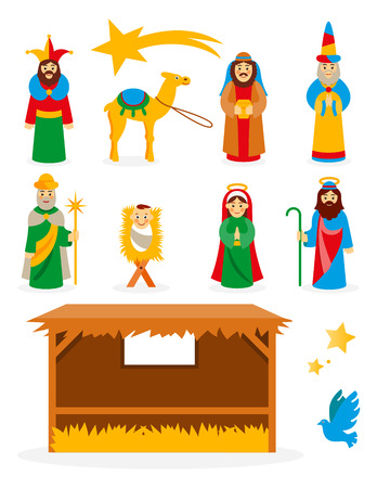 Mother Mary: Set collection of isolated cartoon Christmas Nativity manger design elements