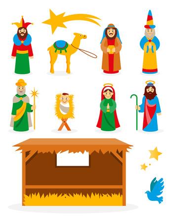baby angel: Set collezione di cartoni animati isolato Presepe di Natale elementi di design mangiatoia Vettoriali