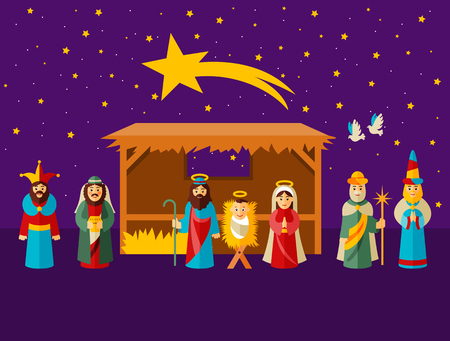family celebration: Merry Christmas concept with holy family design, vector illustration
