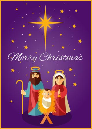 nascita di gesu: Gesù, Maria e Giuseppe sotto la brilla stella di Betlemme