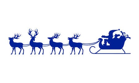 harness: Santa Claus rides in a sleigh in harness on the reindeer. Illustration