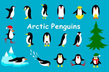 Collection of cartoon penguin isolated on a blue background Illustration