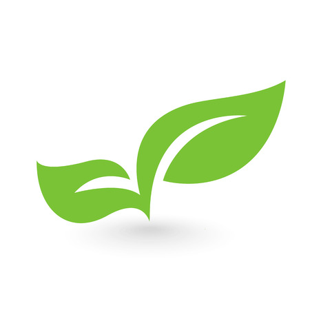 ecology emblem: Abstract leafs care vector logo icon. Eco icon with green leaf