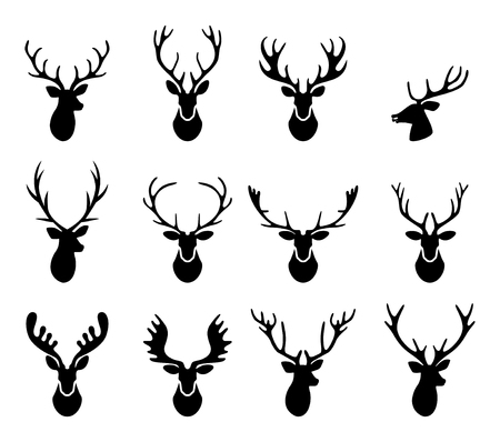 silueta: Conjunto de una silueta cabeza de ciervo en el fondo blanco.