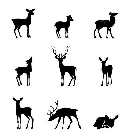 Set of deers vector silhouette illustration, isolated on white background.