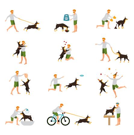 perro comiendo: Entrenamiento del perro del animal doméstico Hombre que juega Stick. iconos planos. El mejor amigo del hombre perro, jugar juegos, el cuidado de los animales.