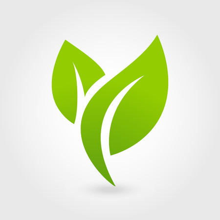 Abstract leafs care vector logo icon. Eco icon with green leaf.