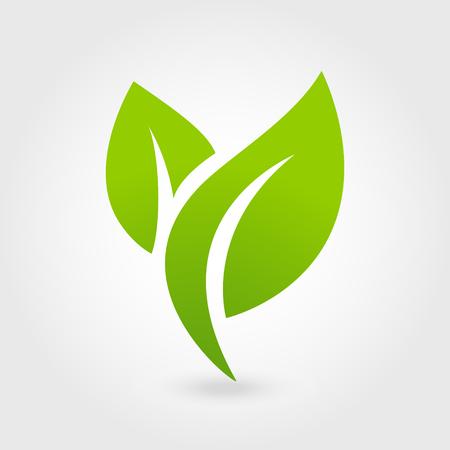 Streszczenie ikona logo wektor liści opieki. Eco ikona z zielonym liściem.