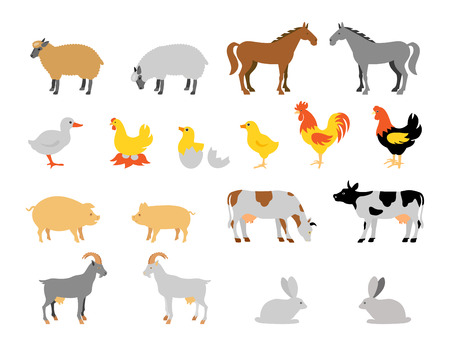 Farm animal collection set. Flat style character. Vector illustration. Ilustração