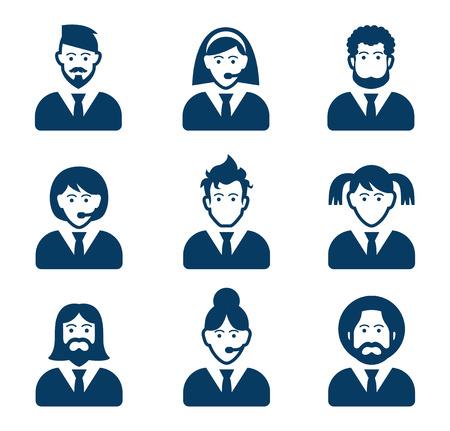 staff: User black icons set - businessman, customer service, staff avatars