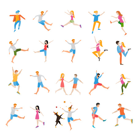 woman male: Jumping high male and female people avatar set isolated vector illustration. Joy and achievement, person woman and man, vector illustration. Illustration