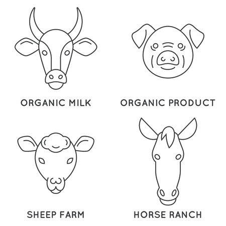 animals collection: Farm animals logo collection. Great linear emblem for farming business. Modern business identity for bio products and agricultural industry.