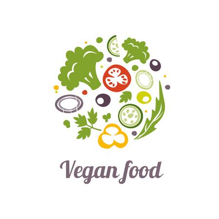 logo de comida: Icono de los alimentos veganos. vector plantilla de diseño del logotipo. forma del círculo de la Alimentación de logo icono de concepto. Aislado en blanco.