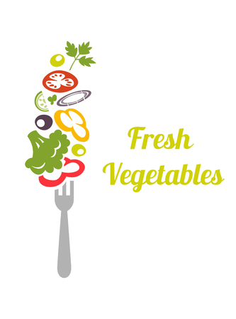 Fresh mixed vegetables on fork. design vector template. concept icon. Chopped vegetables tomatoes, broccoli, lettuce, onion, cucumber, peppers, skewered on a fork. Ilustração Vetorial