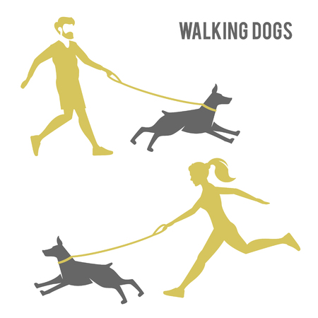 A man and a woman walking a dog.   design for dog walking, training or dog related business. Dog obedience.