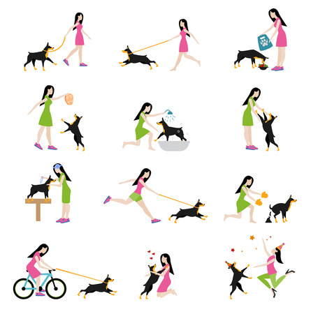 obedience: Professional dog walking. Caring for a dog doberman, washing the dog, clean up the excrements, feeding, playing and walking, cycling with a dog. Girl to train and care for a dog. Flat style. Illustration