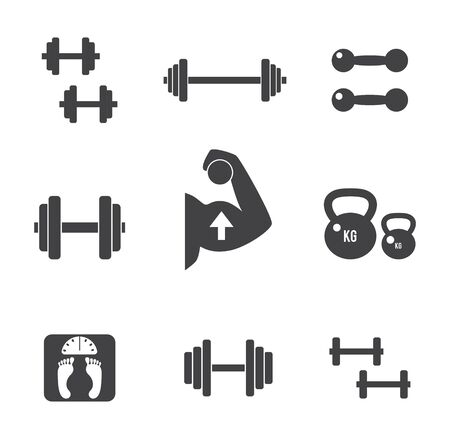 kilogram: Set of weight kilogram barbell icons. Vector isolated bodybuilding, fitnes s icons set