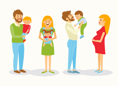 happy family: Father and mother and baby. The mother holds the baby in a sling, mother love, caring, kindness, warmth. A boy sits on hands at the daddy. Pregnant Mom pats her stomach. Illustration