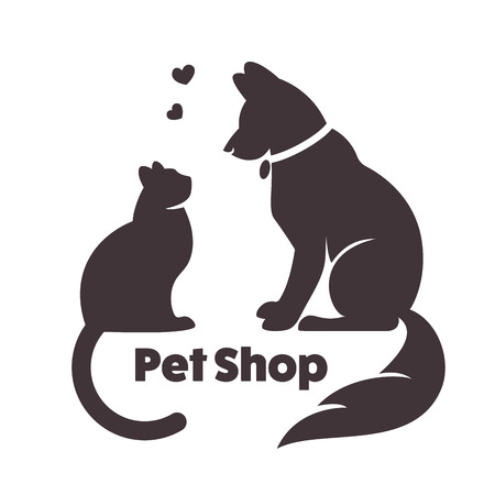 animal shelter: Cat and dog vector signs