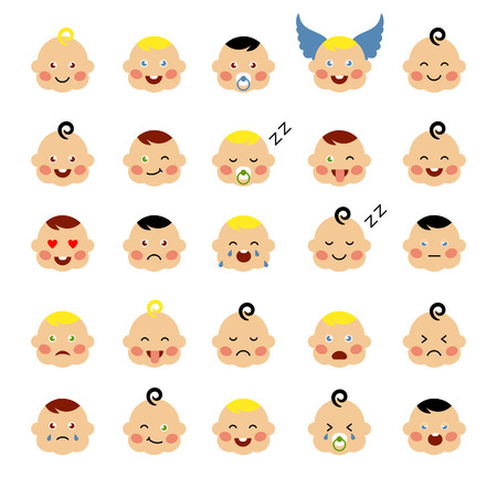 anger kid: Set of cute baby emoticons. Cute baby faces showing different emotions. Vector icons on a white background. Modern flat vector style.