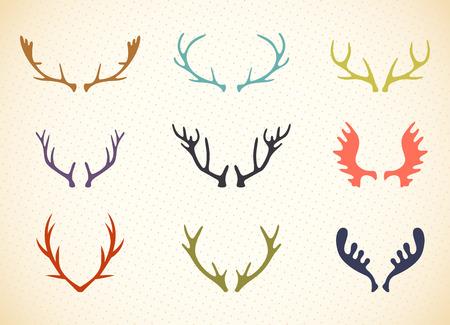 ベクトルのトナカイ枝角図。鹿の角のラベルのセット。