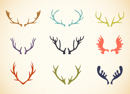 Reindeer Antlers Illustration in Vector. Deer horns label set.