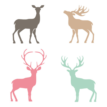 Various silhouettes of deer isolated on white background, christmas deers.