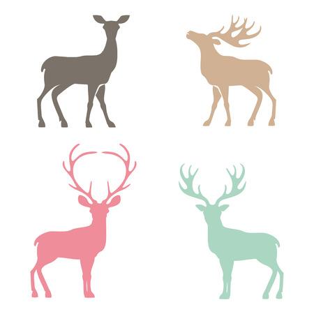 Verschillende silhouetten van herten op een witte achtergrond, Kerst herten.