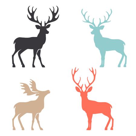 Varias siluetas de los ciervos aislados sobre fondo blanco, venados de Navidad.