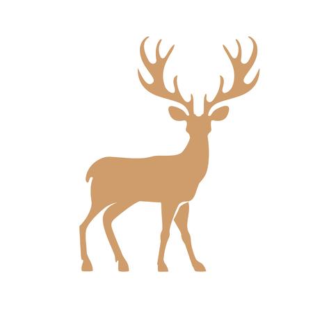 antler: Silhouette deer with great antler animal vector illustration.
