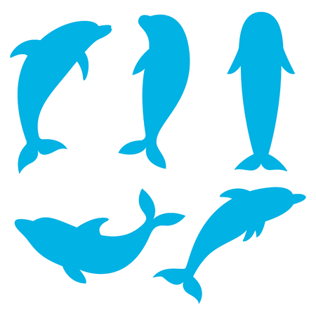 dolphins: Dolphin silhouettes on the white background. Swimming Dolphins. Dolphins are ocean living mammals,this is a dolphin illustration. Illustration