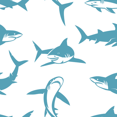 cartoon surfing: Sharks silhouettes seamless pattern. Blue shark on a white background.