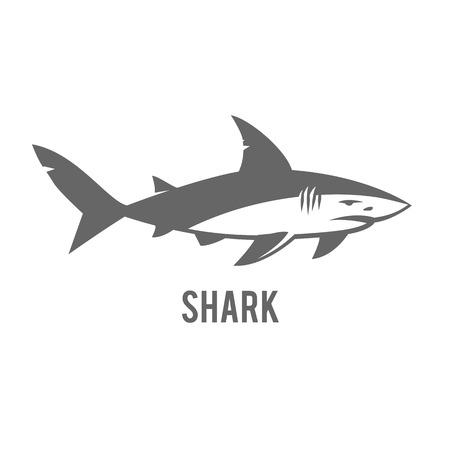 great white: Angry shark icon. Great white shark sign emblem illustration on white background.