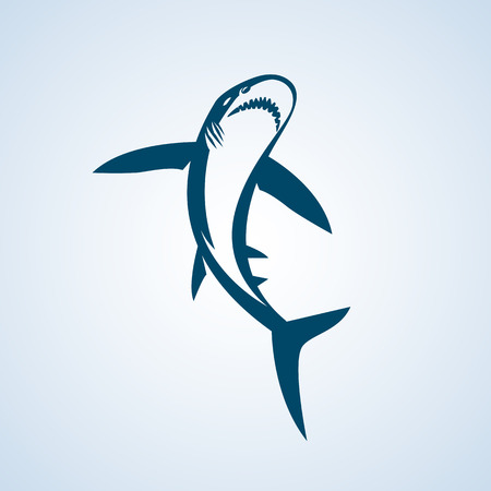 cartoon whale: Shark on a white background. Great white shark sign emblem illustration on white background.
